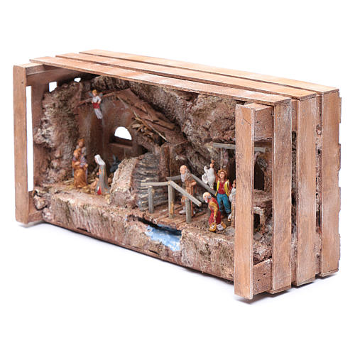 cave in wooden box for nativity scene 20x35x15 cm 2