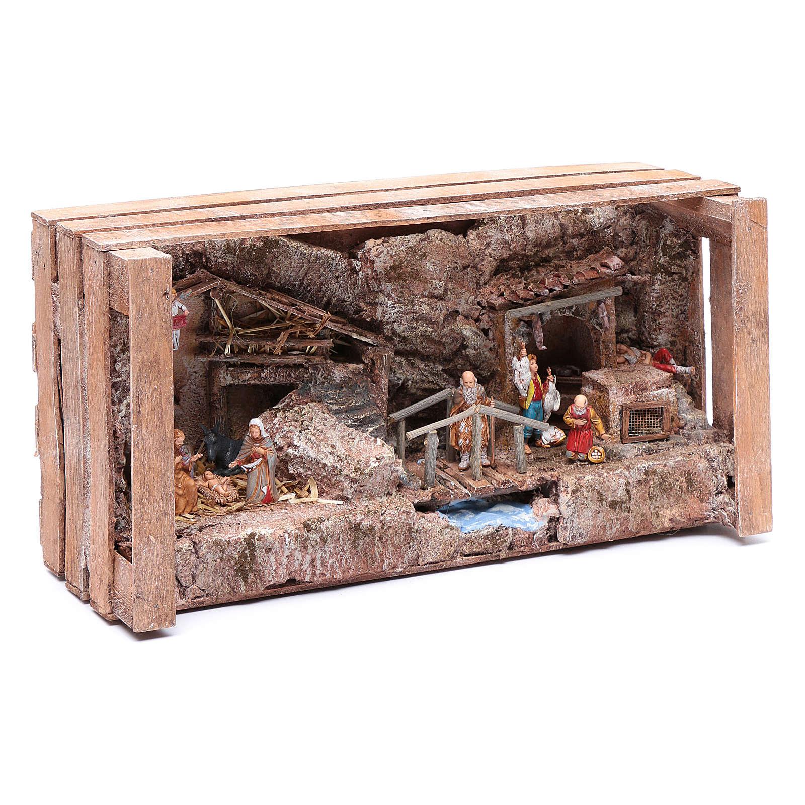 Grotta in cassetta per presepe 20x35x15 cm 4