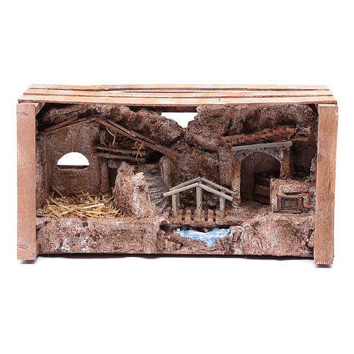 Grotta in cassetta per presepe 20x35x15 cm 5