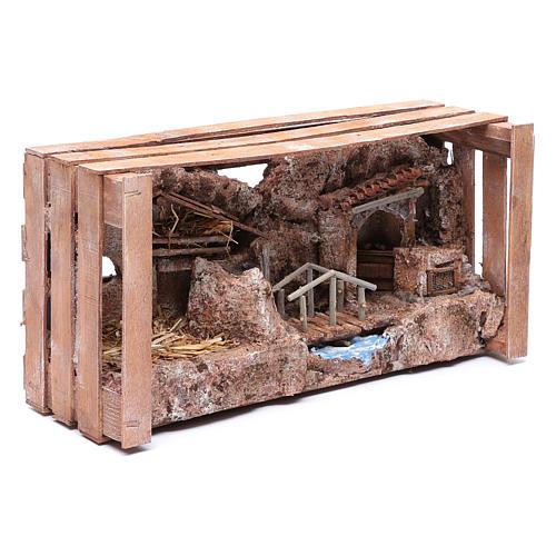 Grotta in cassetta per presepe 20x35x15 cm 7