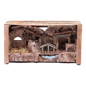 cave in wooden box for nativity scene 20x35x15 cm s5