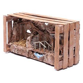 cave in wooden box for nativity scene 20x35x15 cm s6