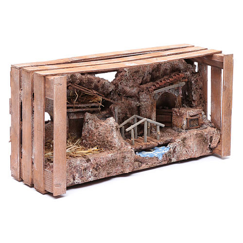 cave in wooden box for nativity scene 20x35x15 cm 7