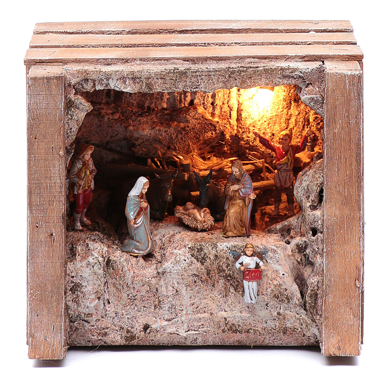 cave with trough in wooden box 15x20x15 cm 4