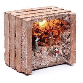 cave with trough in wooden box 15x20x15 cm s3