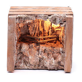 cave with trough in wooden box 15x20x15 cm s5