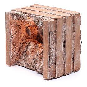 cave with trough in wooden box 15x20x15 cm s6