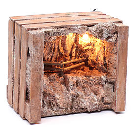cave with trough in wooden box 15x20x15 cm s7