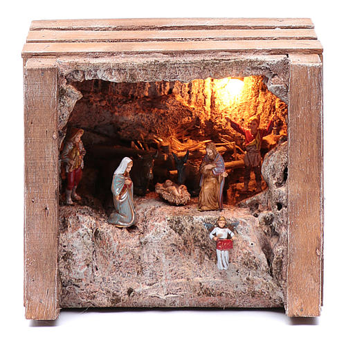 cave with trough in wooden box 15x20x15 cm 1