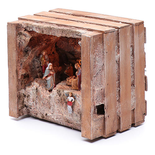 cave with trough in wooden box 15x20x15 cm 2