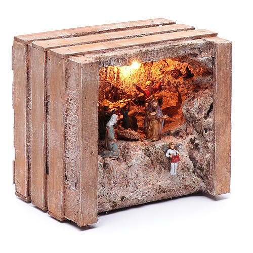 cave with trough in wooden box 15x20x15 cm 3