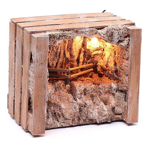 cave with trough in wooden box 15x20x15 cm 7