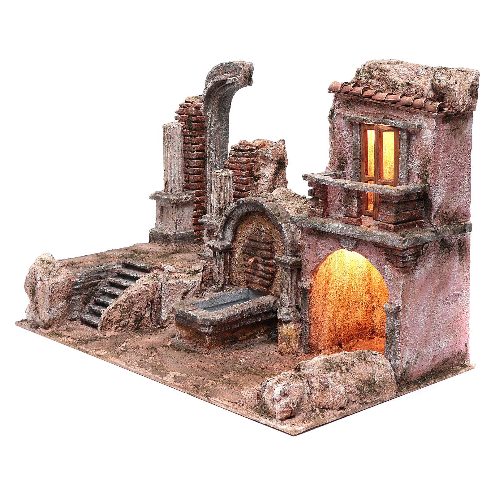Grotta illuminata fontana e rovine tempio 35x50x30 presepe 10 cm 4