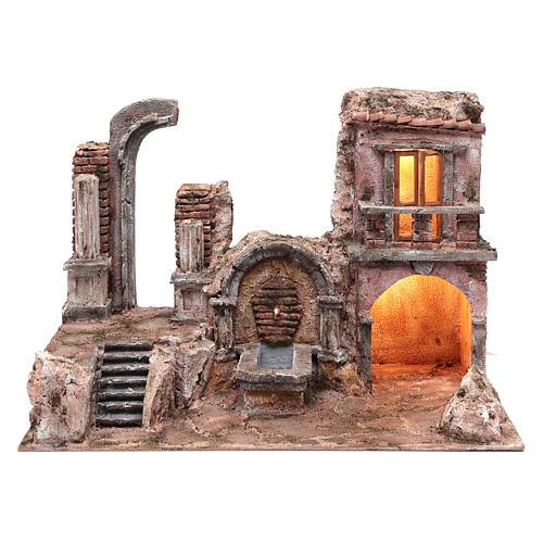 Grotta illuminata fontana e rovine tempio 35x50x30 presepe 10 cm 1