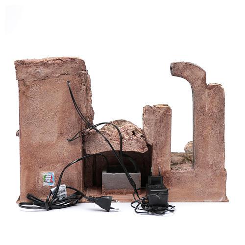 Grotta illuminata fontana e rovine tempio 35x50x30 presepe 10 cm 3