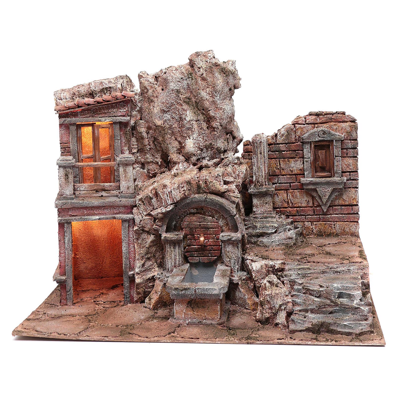 Grotte crèche éclairée avec fontaine et escalier 35x50x30 cm 4