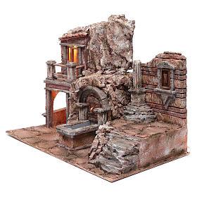 Grotte crèche éclairée avec fontaine et escalier 35x50x30 cm s2