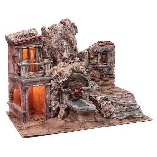 Grotte crèche éclairée avec fontaine et escalier 35x50x30 cm 3