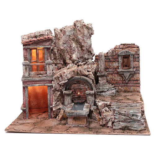 Illuminated nativity scene cave with fountain and stairs 35x50x30 cm 1