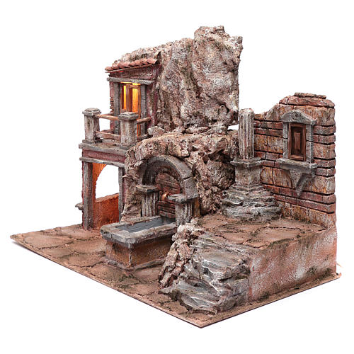 Illuminated nativity scene cave with fountain and stairs 35x50x30 cm 2