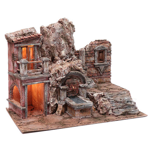 Illuminated nativity scene cave with fountain and stairs 35x50x30 cm 3