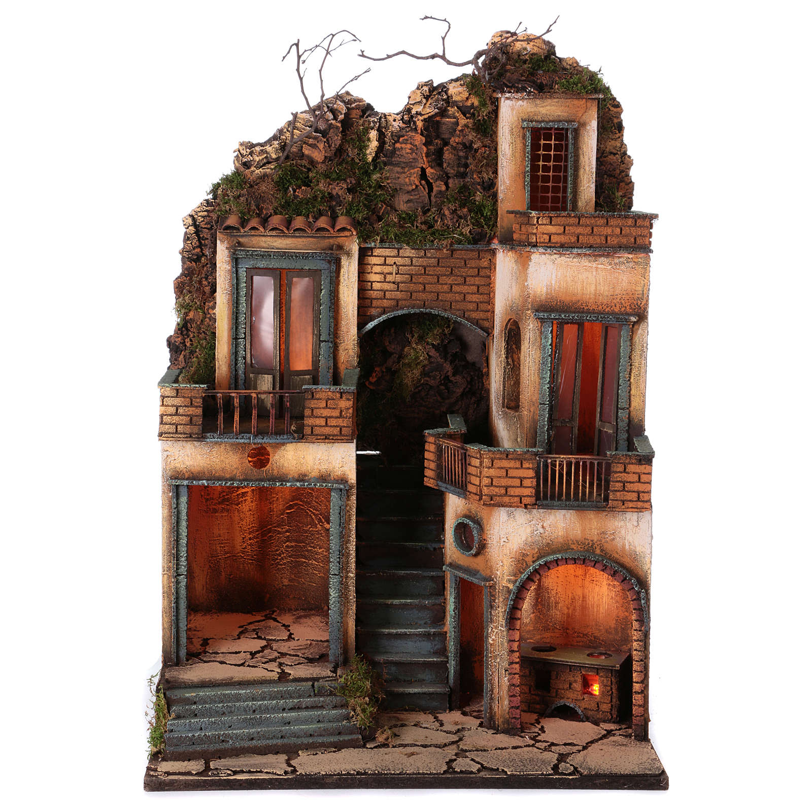Borgo presepe napoletano scala centrale 66x40x50 cm 4