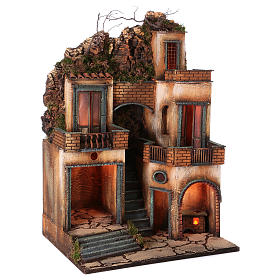 Borgo presepe napoletano scala centrale 66x40x50 cm s3