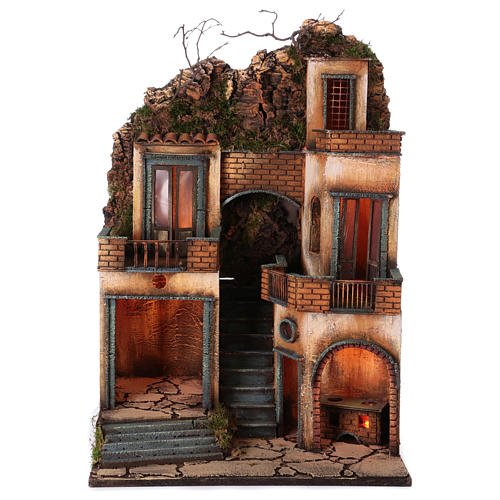 Borgo presepe napoletano scala centrale 66x40x50 cm 1