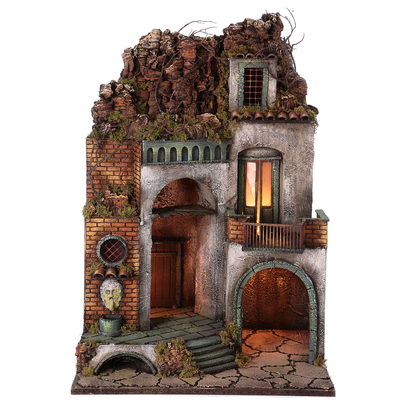 Illuminated nativity scene village with arched trough 4