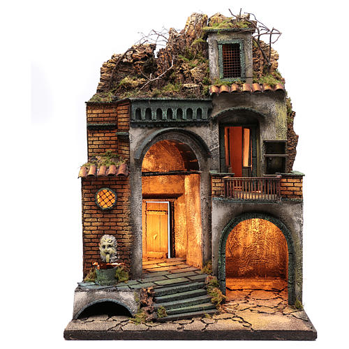 Borgo presepe illuminato e mangiatoia ad arco 1