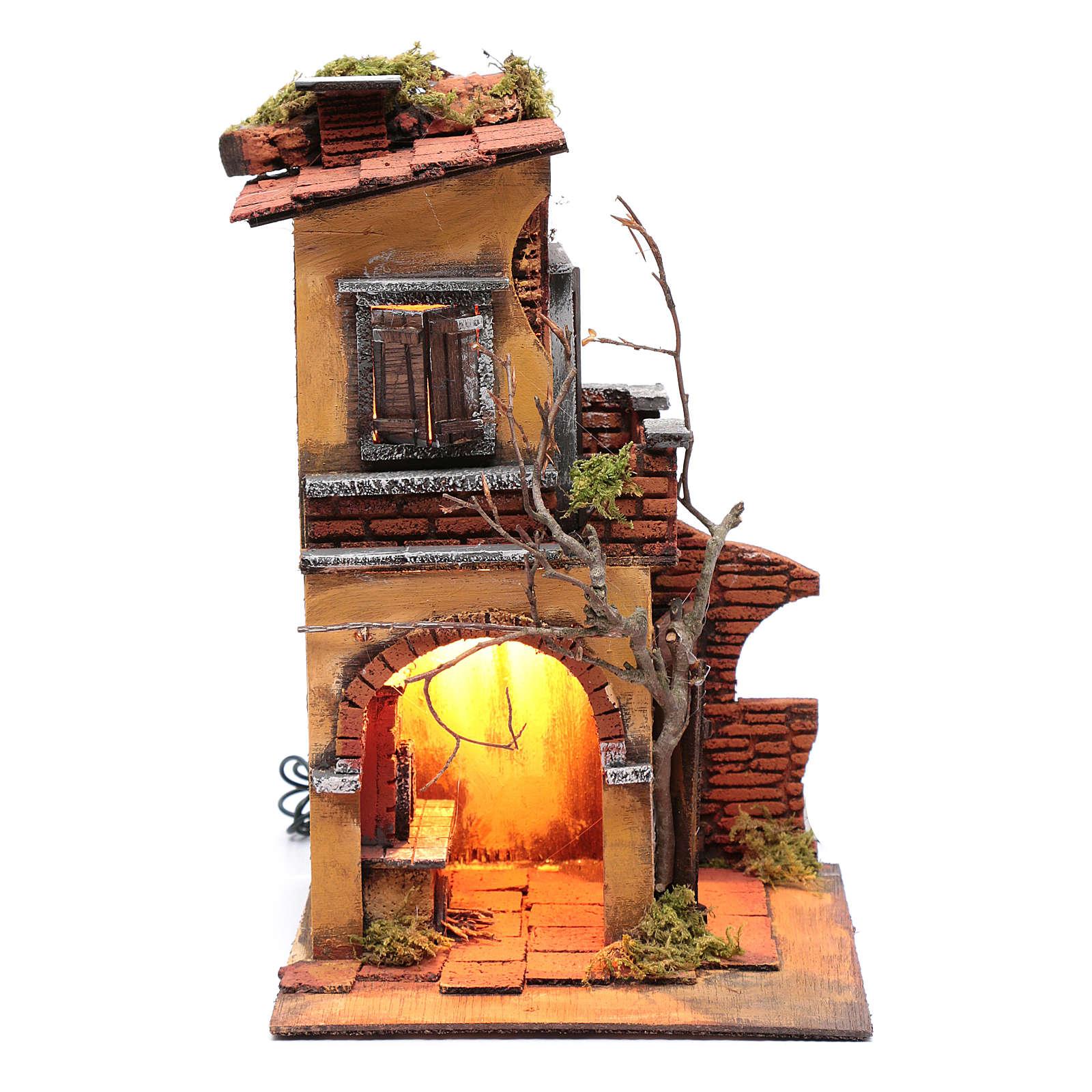 Casa doppio arco ambientazione per presepe 30x20x20 4
