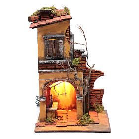 Neapolitan Nativity Scene: House with double arch for nativity scene setting 30x20x20 cm