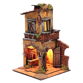 House with double arch for nativity scene setting 30x20x20 cm s2