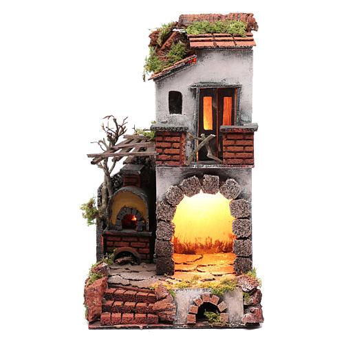 Ambientazione casa caminetto con luce presepe napoletano 1