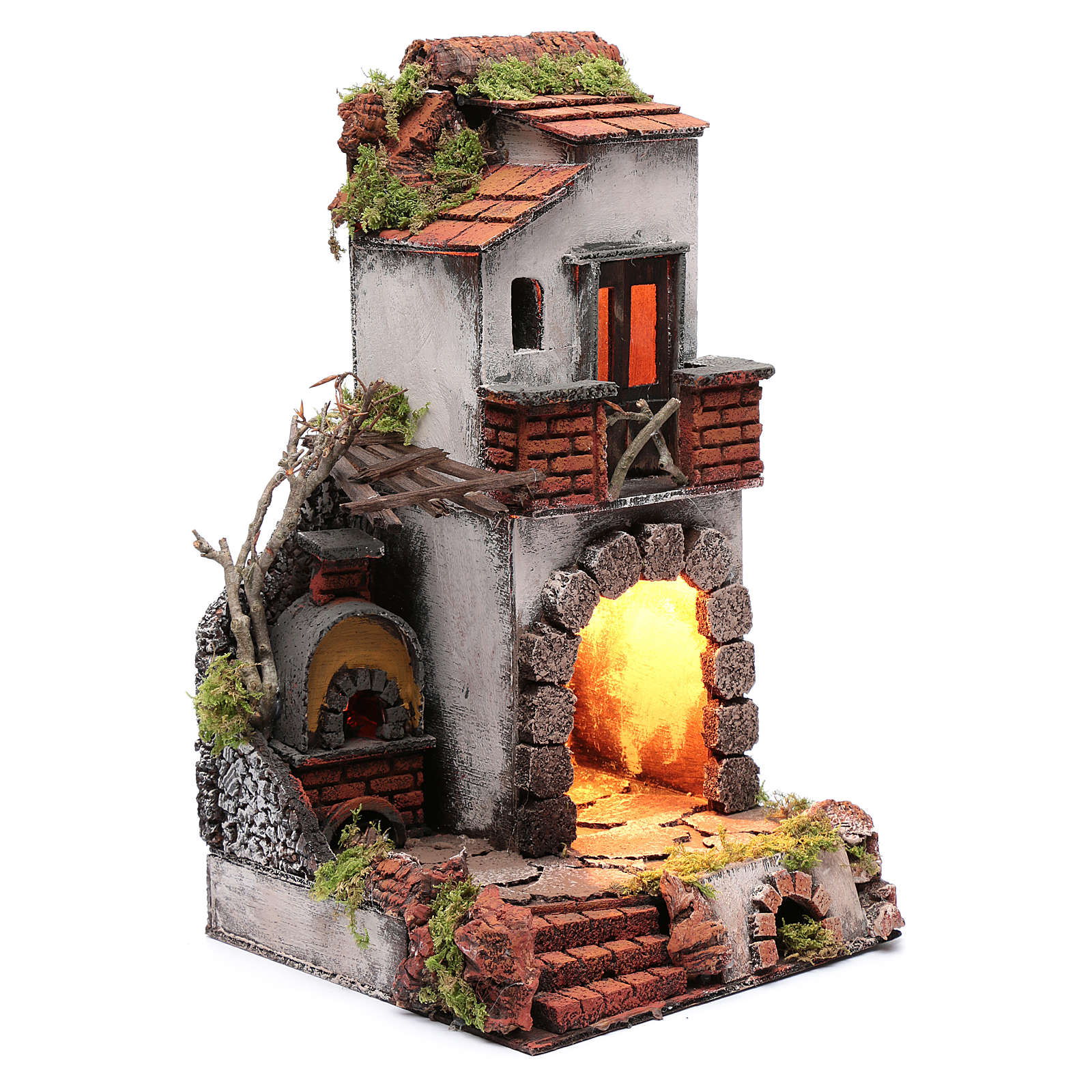 Neapolitan nativity scene setting composed by house with chimney and lights 4