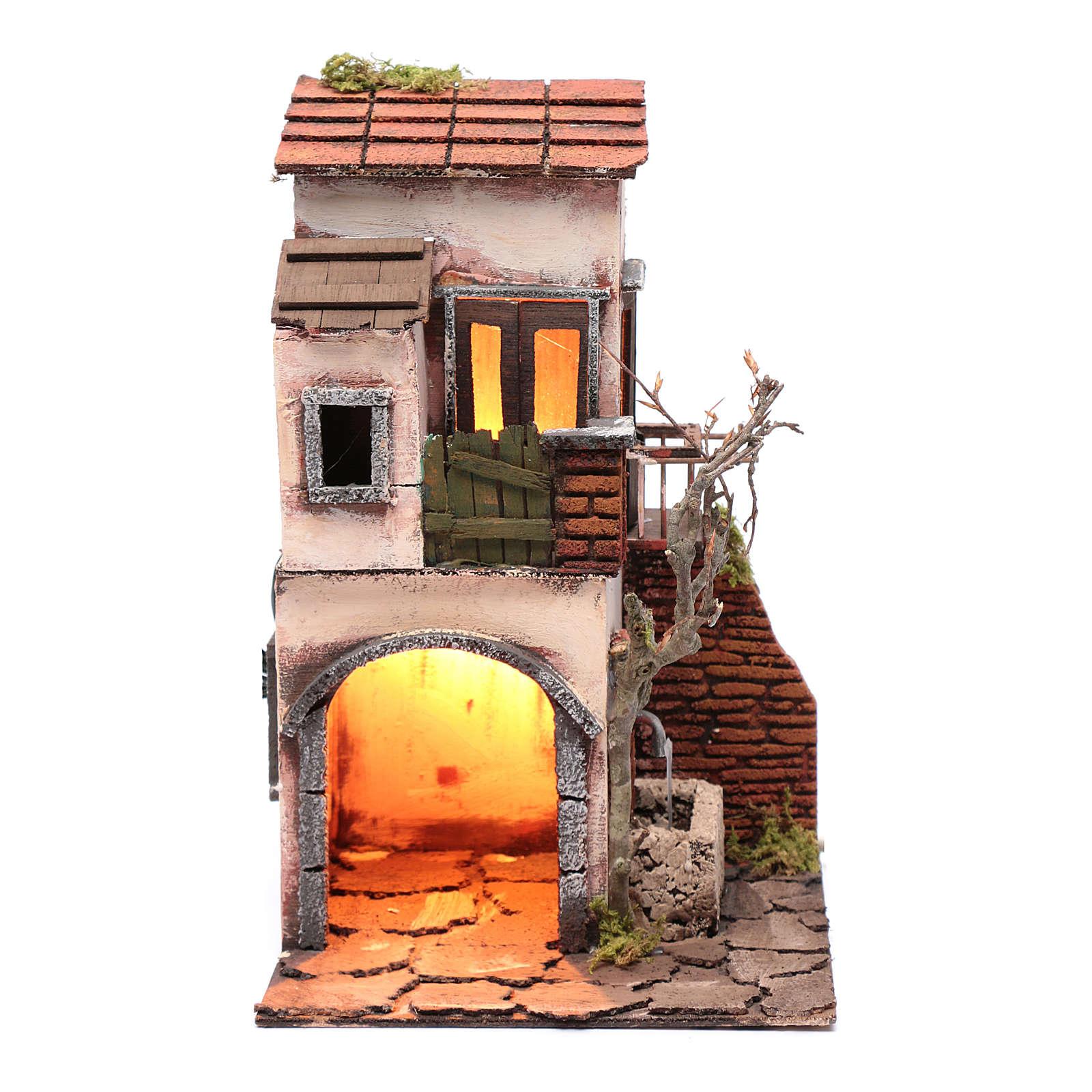 House with fountain nativity scene setting 30x20x20 cm 4