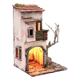 House with fountain nativity scene setting 30x20x20 cm s3