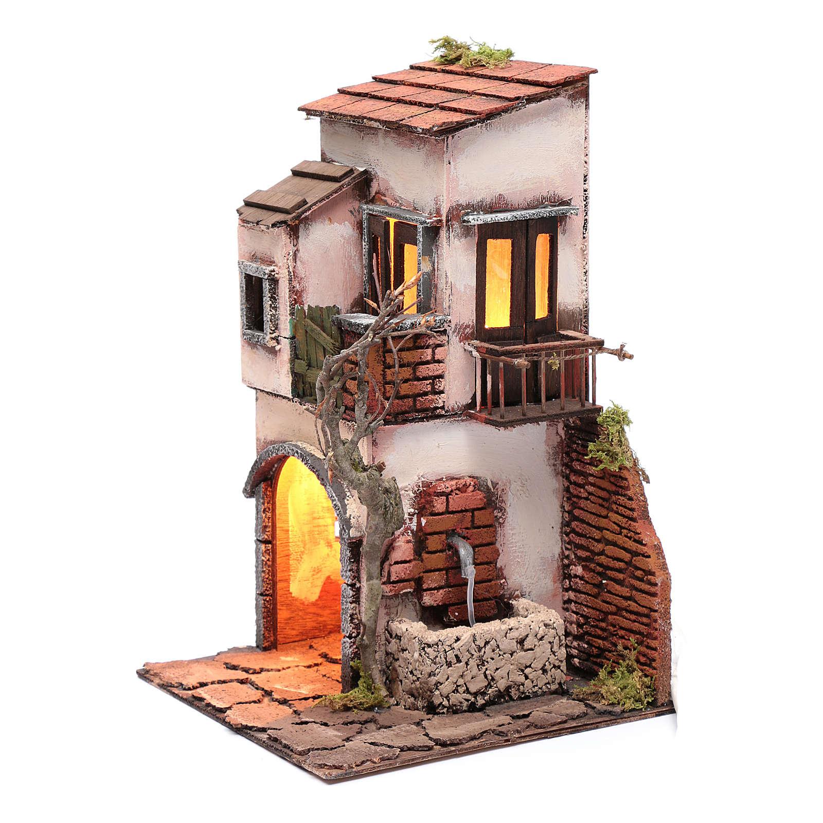 Maison avec fontaine décor pour crèche 30x20x20 cm 4