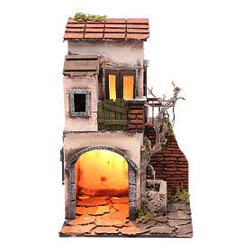Maison avec fontaine décor pour crèche 30x20x20 cm s1