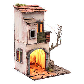 Casa con fontana ambientazione per presepe 30x20x20 s3