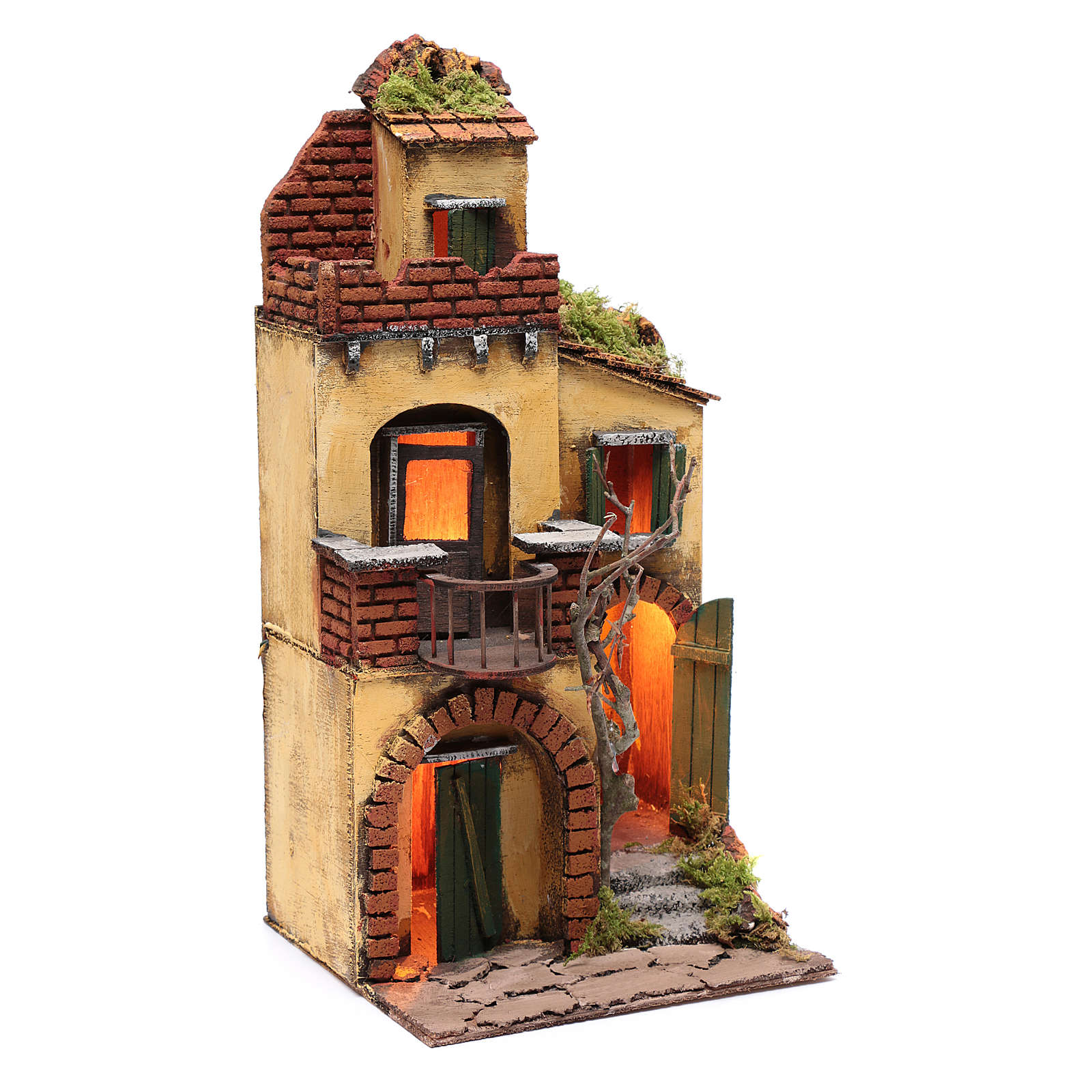 Casa con balcone tondo ambientazione per presepe con luce 4