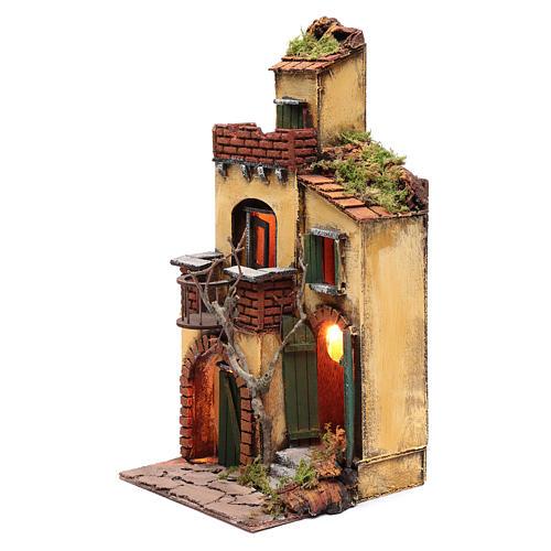 Casa con balcone tondo ambientazione per presepe con luce 2