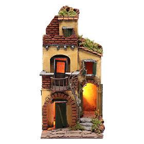 Presépio Napolitano: Casa com balcão redondo cenário para presépio com iluminação