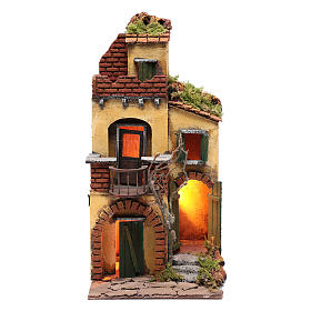 Neapolitan Nativity Scene: House with round balcony and light for nativity scene setting