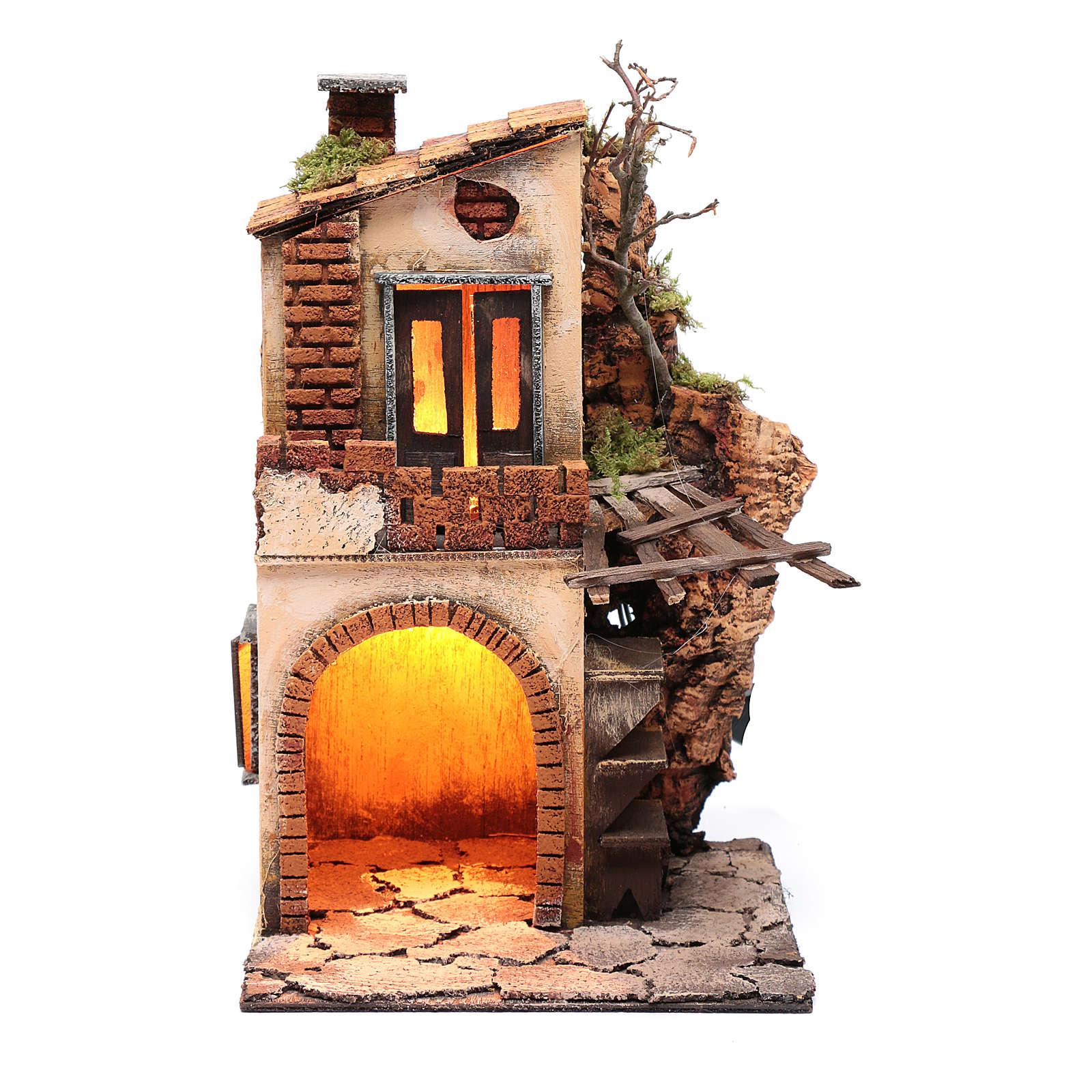 Casa con tettoia e luce ambientazione per presepe 30x20x20 4