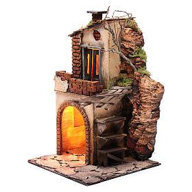 Casa con tettoia e luce ambientazione per presepe 30x20x20 s2