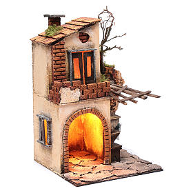Casa con tettoia e luce ambientazione per presepe 30x20x20 s3