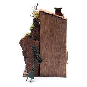 Casa con tettoia e luce ambientazione per presepe 30x20x20 s4