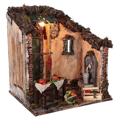 Setting with fruit store for Neapolitan nativity scene 3