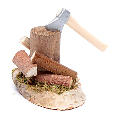 Woodcutter on trunk nativity scene accessories 2